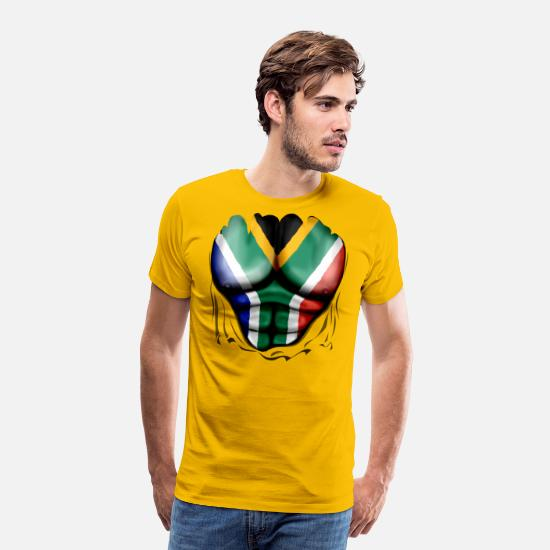 Africa T-Shirts - South Africa Flag Ripped Muscles, six pack, chest - Men's Premium T-Shirt sun yellow