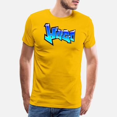 Hugo Graffiti Name Hugo Bleu Green NY STYLE - T-shirt Premium Homme