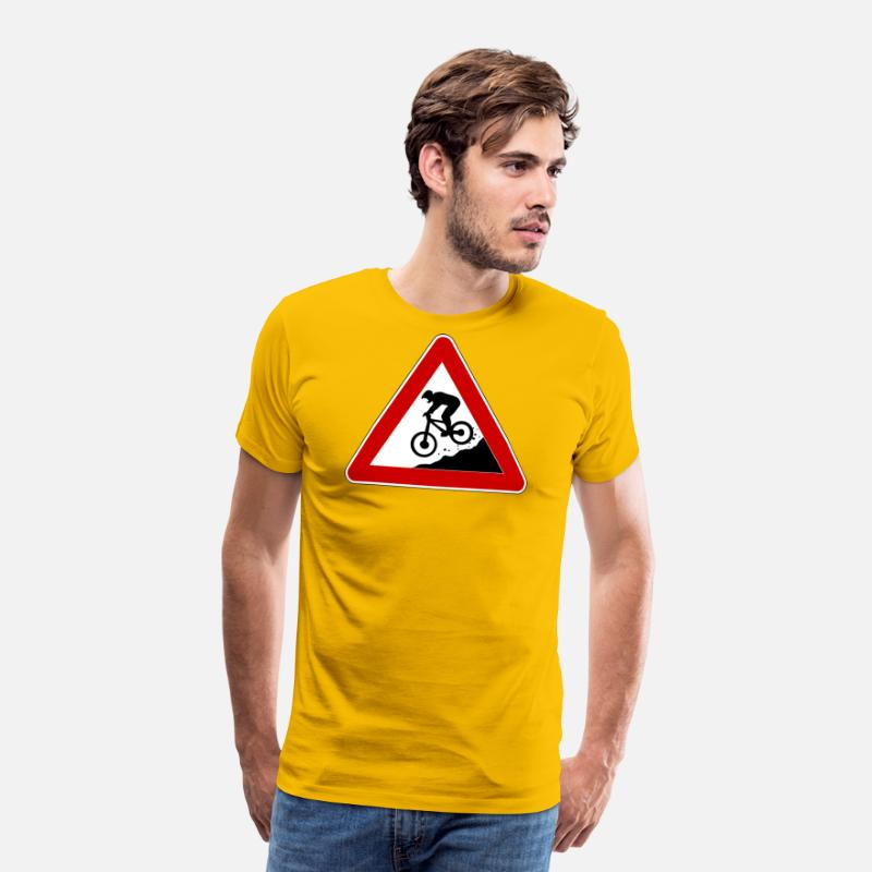 Panneau Attention T-shirts - Panneau de signalisation « Attention descente » - T-shirt premium Homme jaune soleil