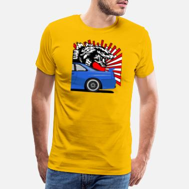 GT-R R34 Godzilla and rising Sun. - Men's Premium T-Shirt
