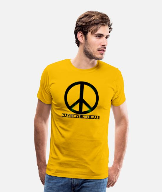 Love T-Shirts - peace make love was not - Men's Premium T-Shirt sun yellow