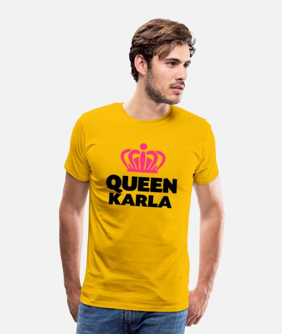 Crown T-Shirts - Queen karla name thing crown - Men's Premium T-Shirt sun yellow