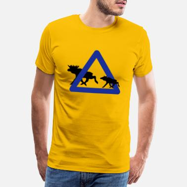 Sign Moose Warning Sign - 2 Kleur Vector - Mannen premium T-shirt