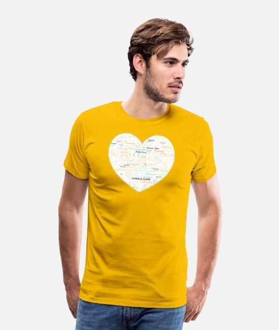 Heart T-Shirts - Heart -Clans Roma -Gypsy Tribes Word Art Cloud - Men's Premium T-Shirt sun yellow