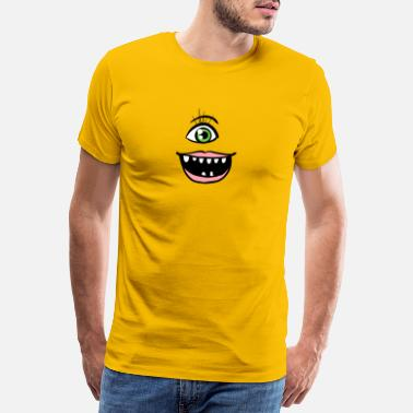 Grinsen Halloween Funny Monster Face - Männer Premium T-Shirt