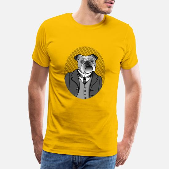 Engelsk bulldog gentleman Premium T skjorte for menn