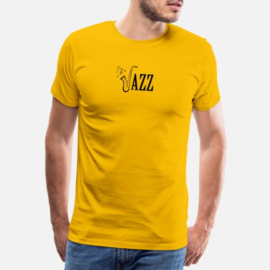 35315f5d Cool Jazz Music Shirt, Saxophone and Musical notes Men's Premium T ...