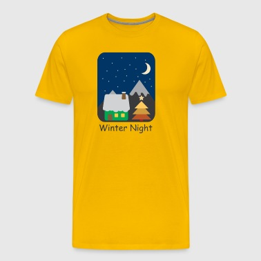 Winter night Christmas full moon stars sky - Men's Premium T-Shirt