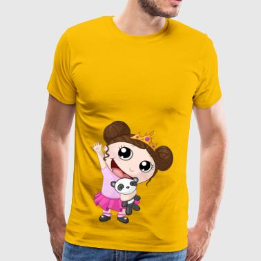 Waving cartoon girl with panda - Men's Premium T-Shirt