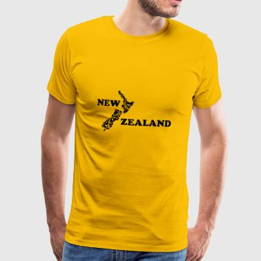New Zealand: map and lettering in black - Men's Premium T-Shirt