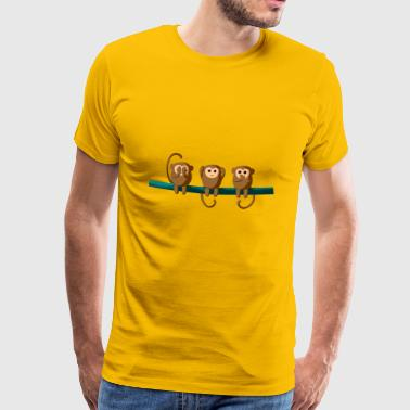 See Hear Speak Monkeys Affen Chimp Auee Simian - Männer Premium T-Shirt