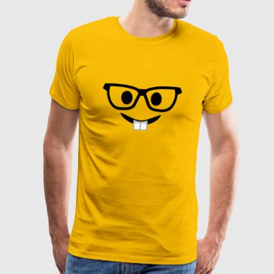 Nerd with glasses and buck teeth - Men's Premium T-Shirt