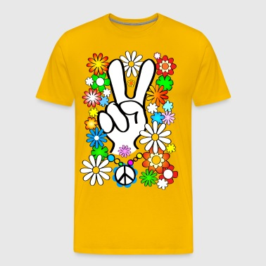 Flower Power & Peace (stor) - Herre premium T-shirt