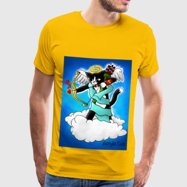 Valentine's Day Tuxedo Cupid Cat - Men's Premium T-Shirt