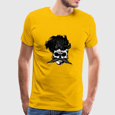 head of death hipster crane mustachioed punk hairstyle - Men's Premium T-Shirt