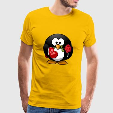 valentines penguin - Men's Premium T-Shirt