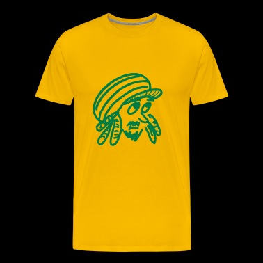 Rasta head outline vector with dreadlocks and cap - Men's Premium T-Shirt