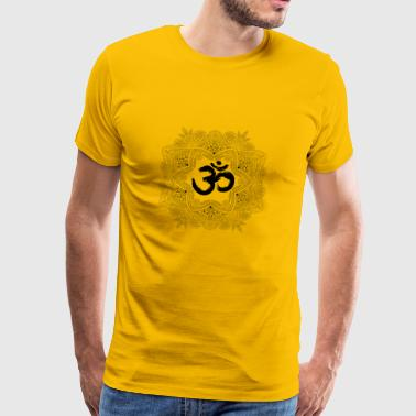 Mandala with Om, hand drawn - Men's Premium T-Shirt