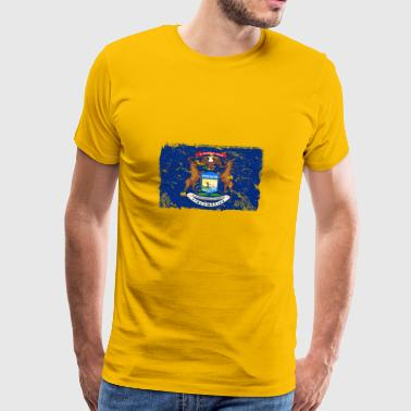 Michigan Vintage Flag - Herre premium T-shirt