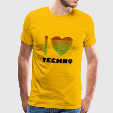 I Love Techno Equalizer Heart Dance Clubbing - Mannen Premium T-shirt