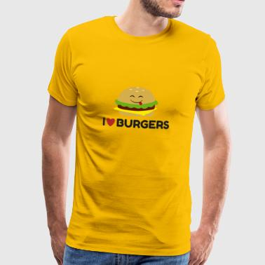 I Love Burgers Funny Burger Emoticon Cute T-shirt - Men's Premium T-Shirt