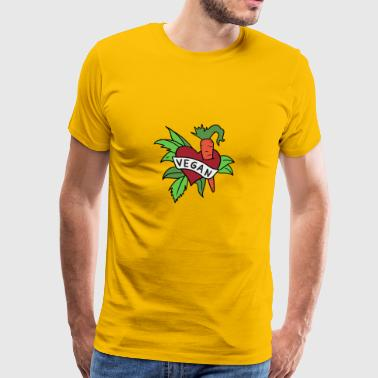 Vegan heart with carrot and lettuce - vegetarian - Men's Premium T-Shirt