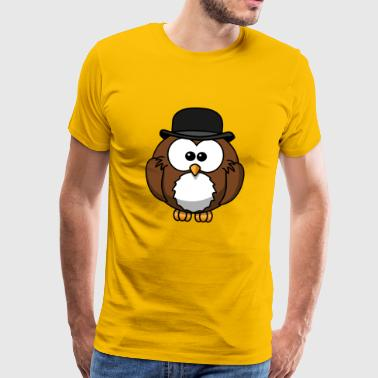 Owl with hat - Men's Premium T-Shirt