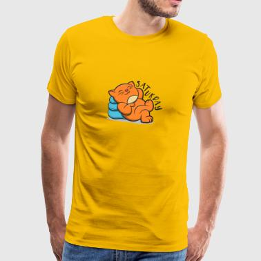 Cute Lovely Cat Lazy And Relax Saturday - Mannen Premium T-shirt