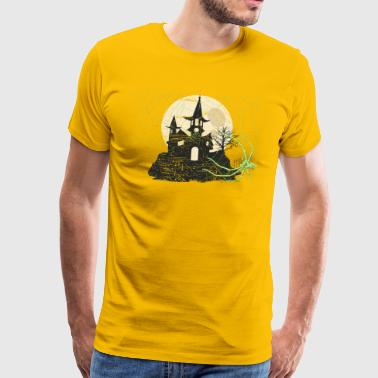 Horror Halloween House ➢ Green Spider + Full Moon - Men's Premium T-Shirt