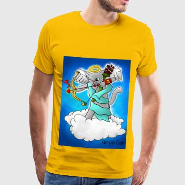 Valentijnsdag Smokey Gray Cupid Cat - Mannen Premium T-shirt