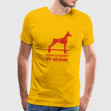 Doberman on skateboard. Very motivating. - Men's Premium T-Shirt