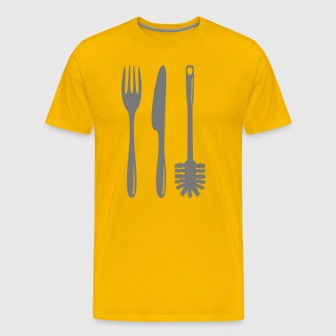 Cutlery with a toilet brush  - Men's Premium T-Shirt