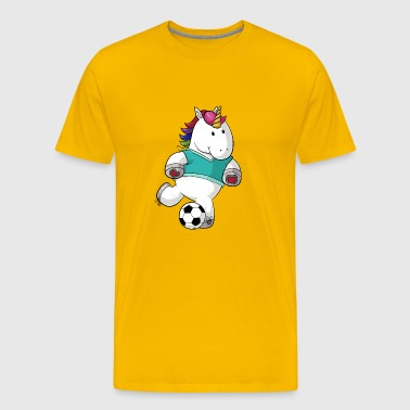 Voetbal cartoon eenhoorn - Mannen Premium T-shirt