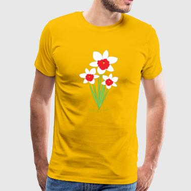 Fleurs jonquilles blanches, rouges, Rose is a rose - T-shirt Premium Homme