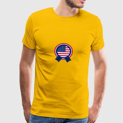 Independence Day American Flag Badge - Herre premium T-shirt