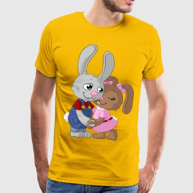 Cute cartoon easter bunny couple - Men's Premium T-Shirt