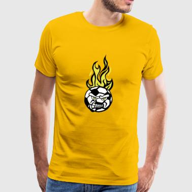 soccer football 7 face cartoon flame fir - Men's Premium T-Shirt