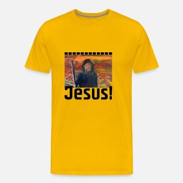 Jezus dinozaur T Rex zabawny prezent narodziny Koszulka męska Premium szary melanż
