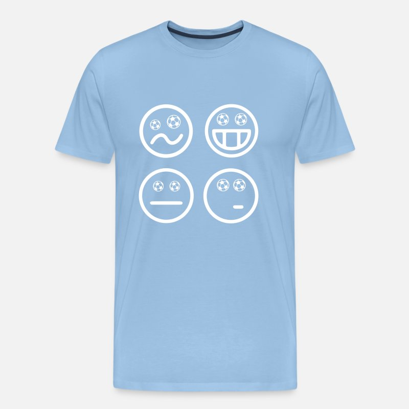 Emoji T-Shirts - Smiley Soccer Emoticon Soccer Happy World Cup - Men's Premium T-Shirt sky