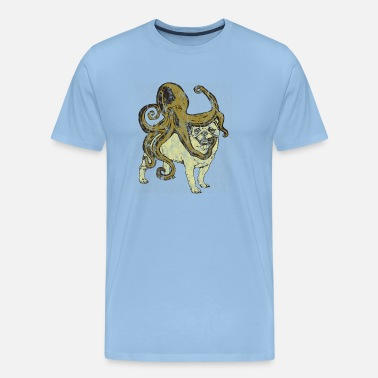 Love England Pug Meets Octopus Used Look - Men's Premium T-Shirt