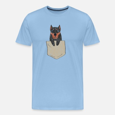 Loved Us Funny Doberman in a chest pocket used look - Men's Premium T-Shirt