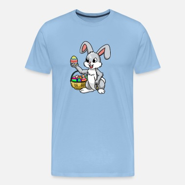 Ritning Easter Bunny Hare Animals KInder Fantasy Eggs Comic - Premium-T-shirt herr