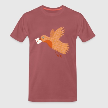 Bird with letter in beak. - Herre premium T-shirt