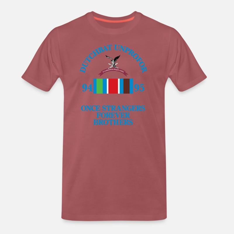 Brigade T-Shirts - Dutchbat Brothers borduur - Mannen premium T-shirt washed burgundy