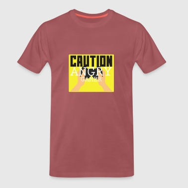 Gaming Shirt - Caution Angry Gamer - Men's Premium T-Shirt