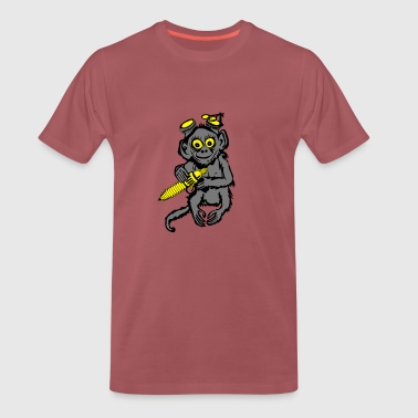 Monkey With Gun Steampunk Monkey - Men's Premium T-Shirt