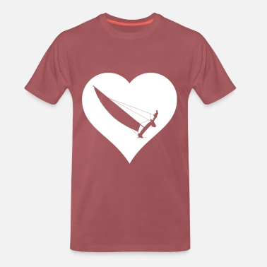 Dinghy Catamaran in a white heart - Men's Premium T-Shirt