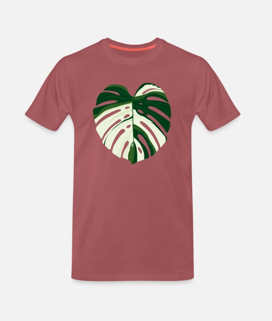 Tuin T-shirts - Monstera Deliciosa Variegata - Mannen premium T-shirt washed burgundy