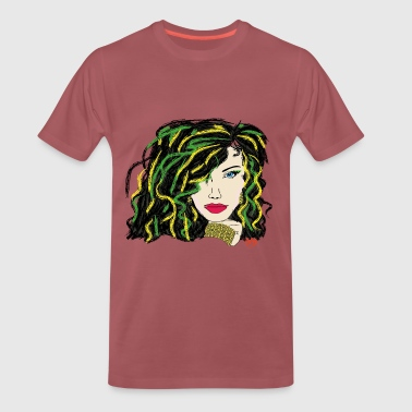 woman - green hair - Men's Premium T-Shirt