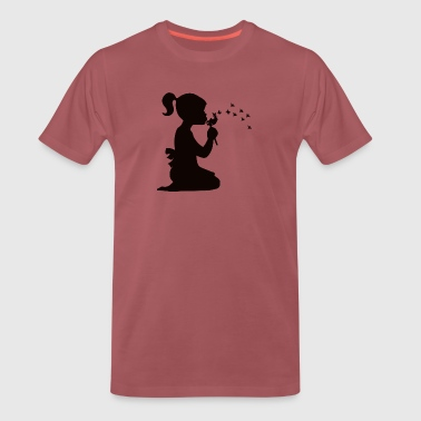 Small affectionate girl blowing dandelion - Men's Premium T-Shirt